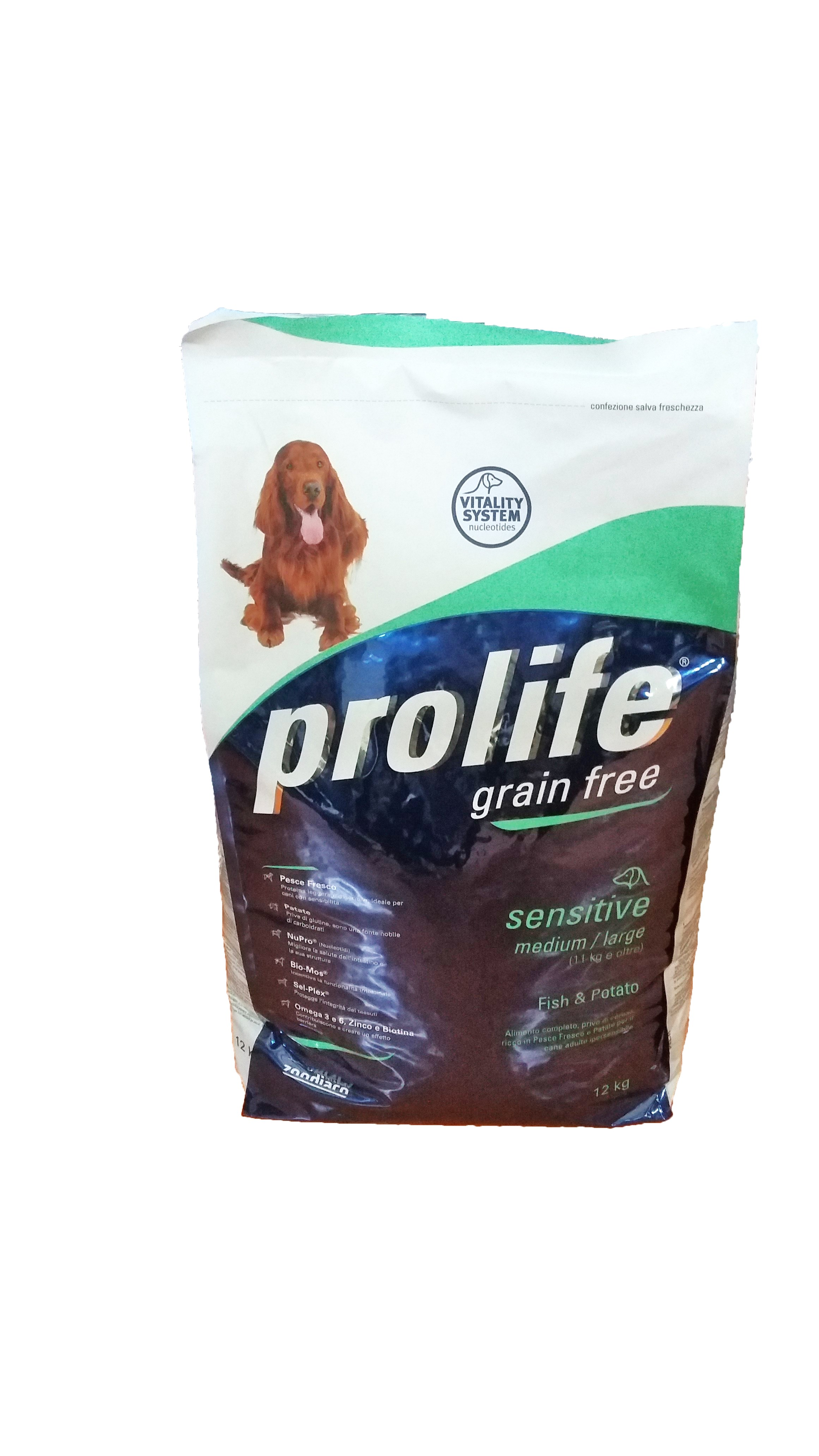 Prolife Dog Sensitive Mini GRAIN-FREE 12kg, Fish&Potato (Made in