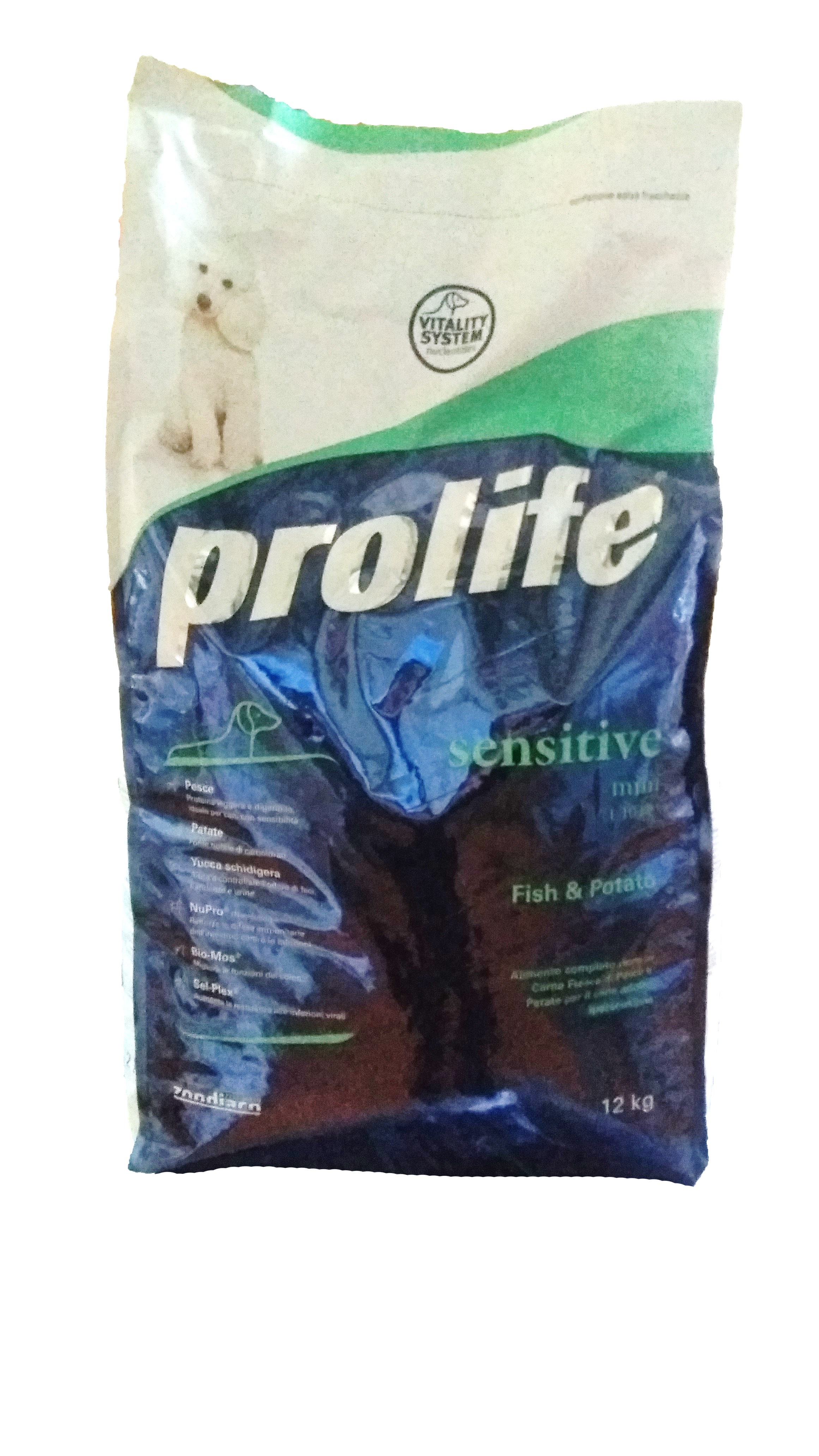 Prolife Dog Sensitive M-L GRAIN-FREE 12kg, Fish&Potato (Made in