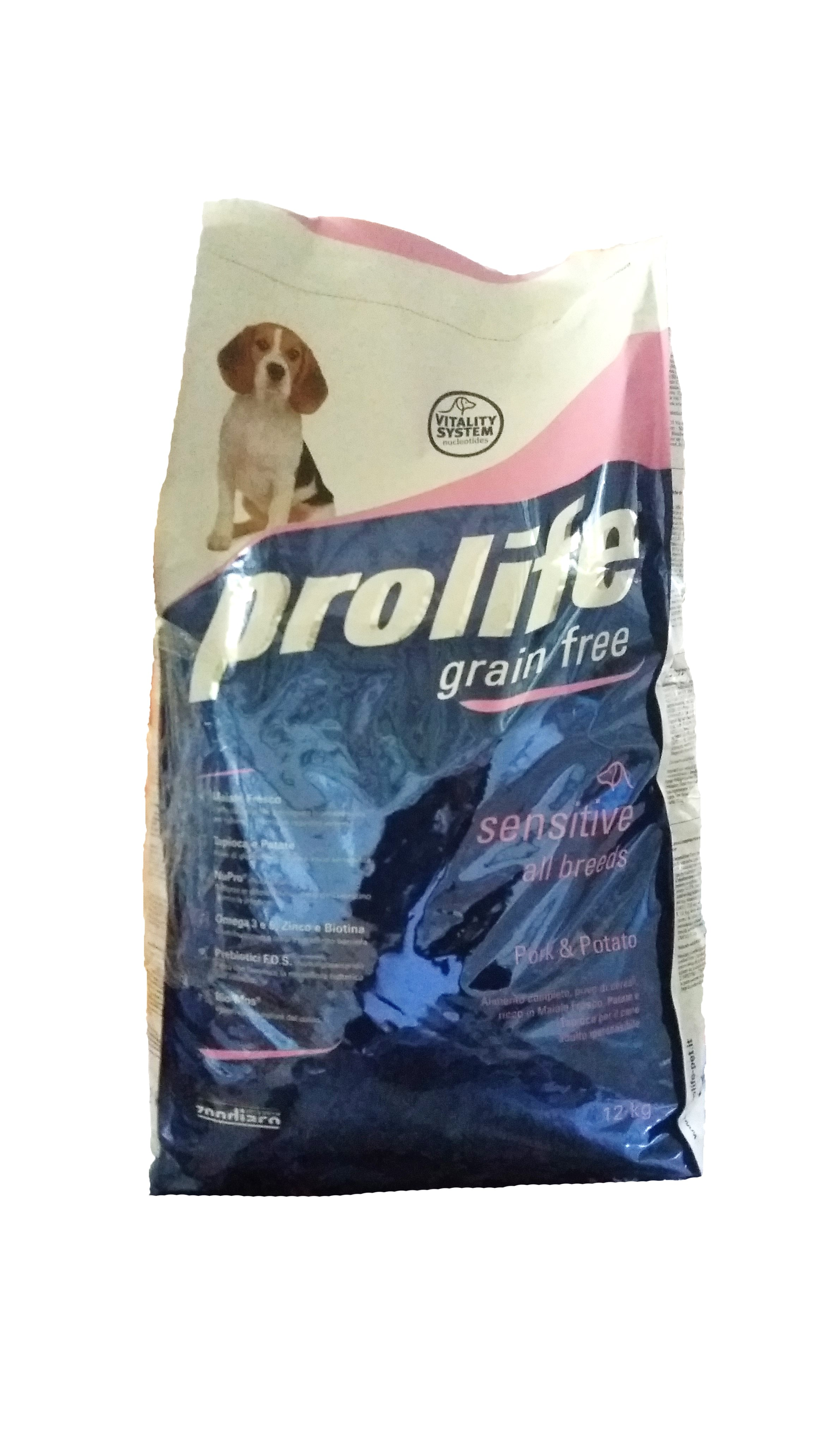 Prolife Dog GRAIN-FREE 12kg, Pork&Potato (Made in Italy)