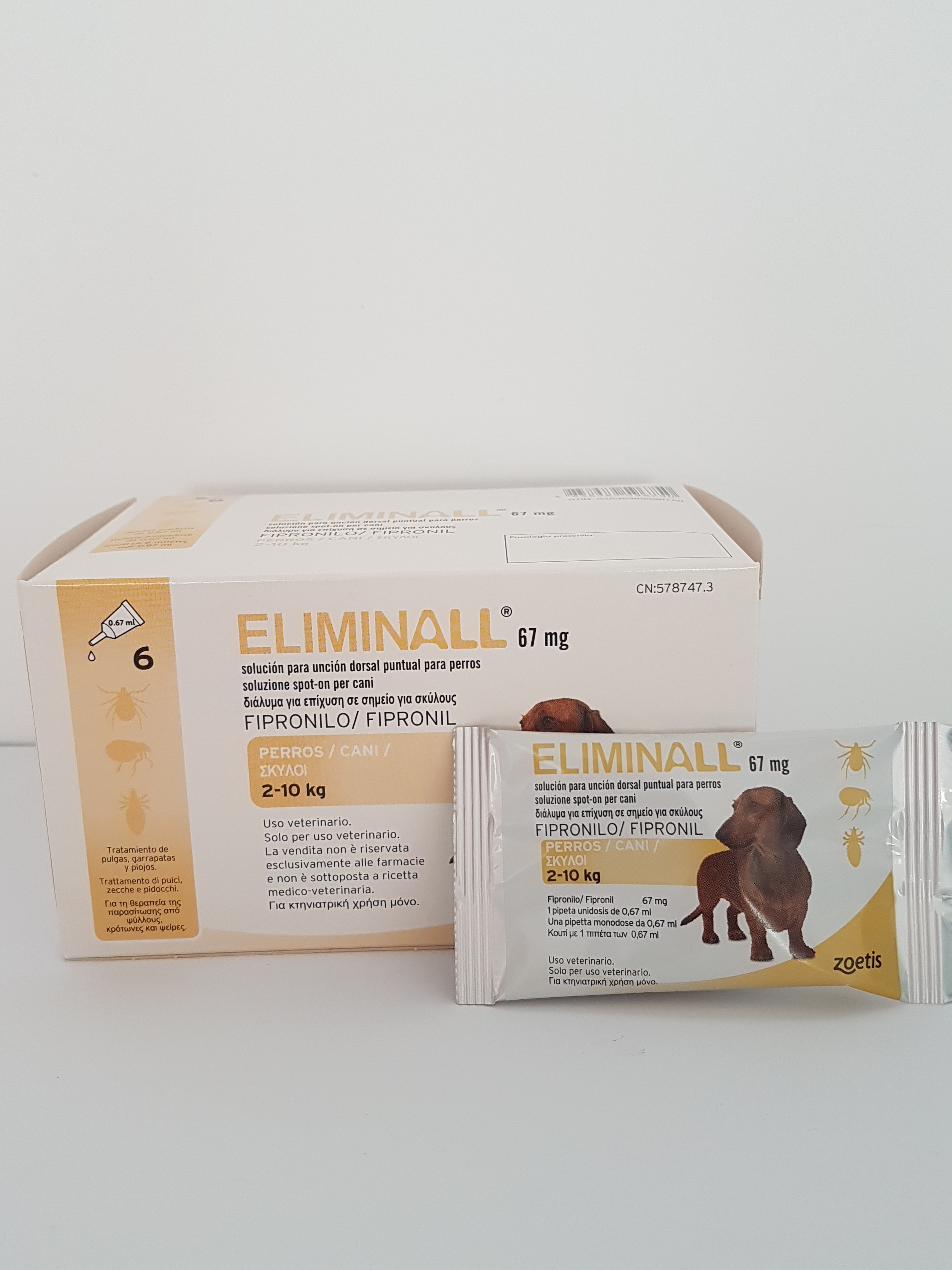 Eliminall spot-on dogs 2-10 kg 0.67 ml, 6 pipettes