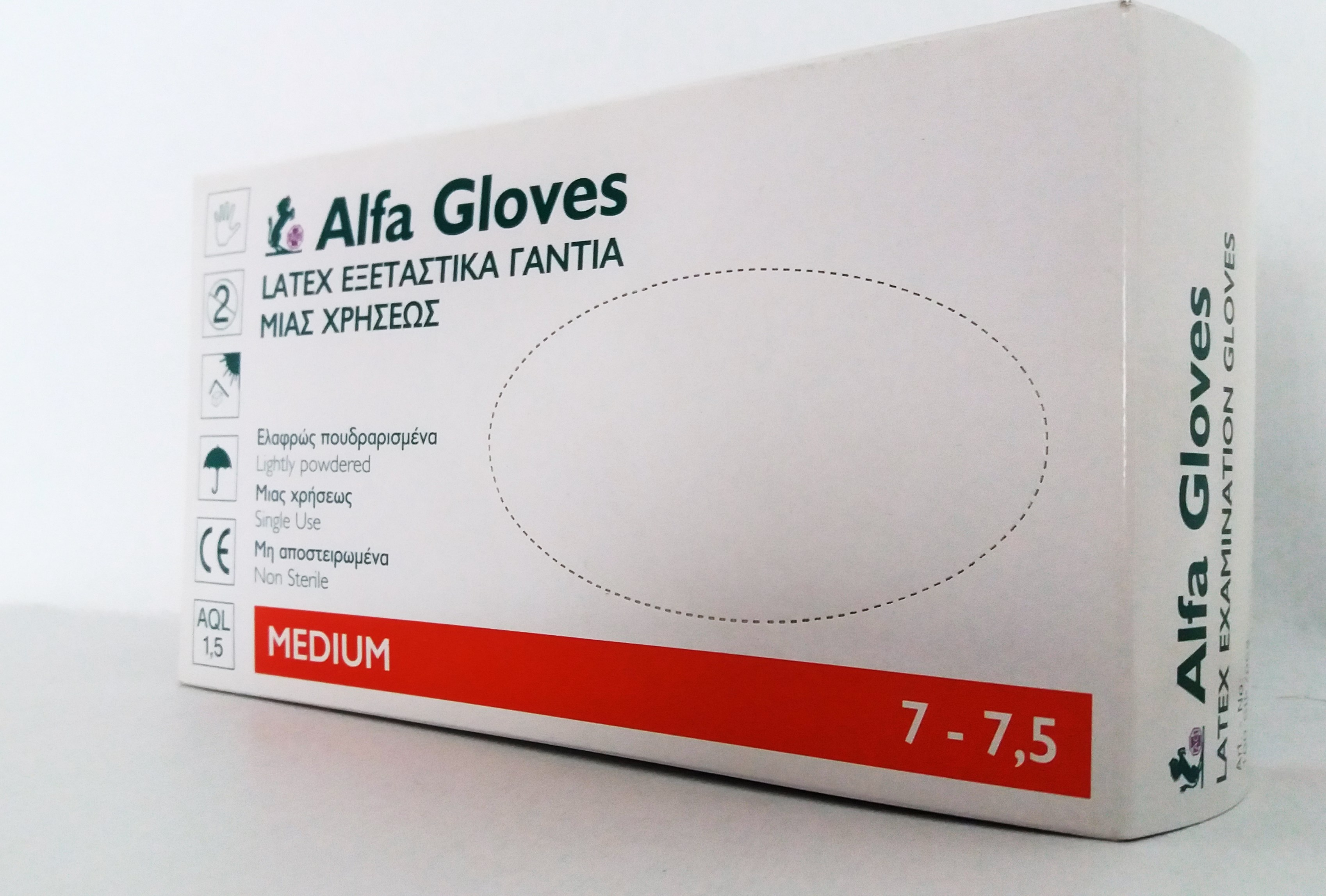 Examination gloves Alfa Gloves powdered, Medium