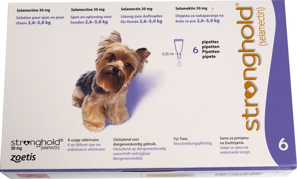 Stronghold 30 mg spot-on Dogs 2,6-5 kg ,6 pipettes x0,25 ml